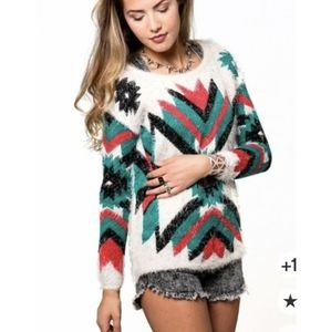 36 point 5 Aztec print soft eye lash sweater